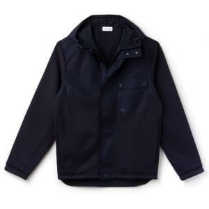 Lacoste Colour Block Reversible Fleece and Jersey Coat in Navy