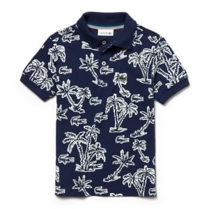 Lacoste Kids 8 Years Palm Tree Polo Top in Navy
