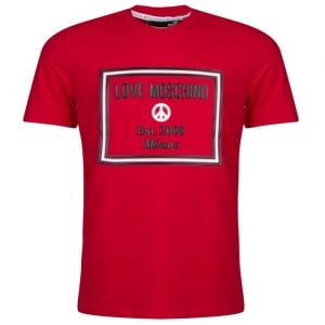 Love Moschino Raised Box T-Shirt in Red