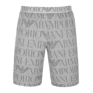 Emporio Armani Loungewear All-Over Logo Shorts in Grey