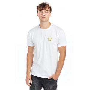 True Religion Metallic T-Shirt in White