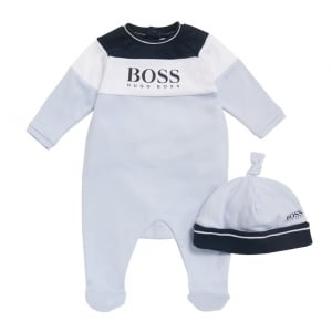 1-9 Months Baby Sleepsuit and Hat Gift Set in Blue