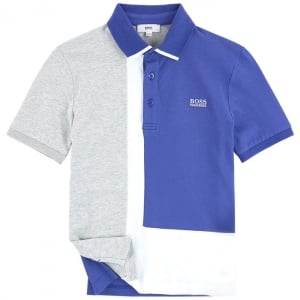 14-16 Years Colour Block Polo Shirt in Grey and Blue