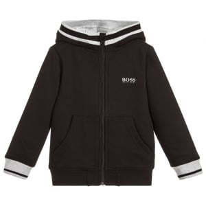 6-12 Years White Stripe Sweatshirt in Black