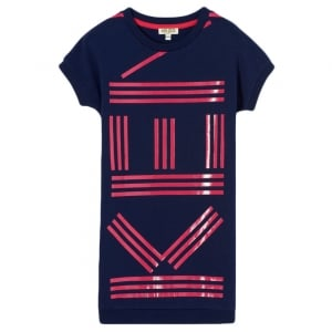 8-10 Years Pink Logo Print Dress in Navy