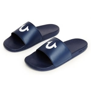 True Religion Slider Flip Flops in Navy