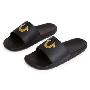 True Religion Slider Flip Flops in Black