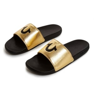 True Religion Slider Flip Flops in Gold