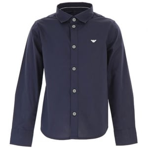 Armani Junior 4-10 Years Logo Shirt in Navy