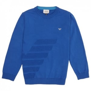 Armani Junior 4-10 Years Panelled Knitwear in Blue