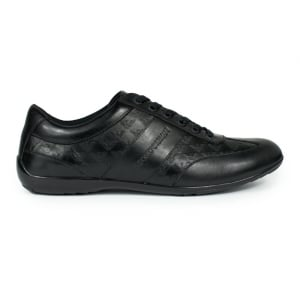 Emporio Armani All-Over Logo Sneakers in Black