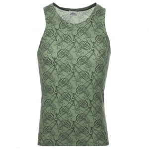 Vivienne Westwood Graffiti Orb Logo Vest Top in Green