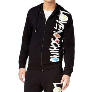 Love Moschino Squiggle Zip Sweatshirt in Black