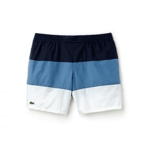Lacoste Stripe Swim Shorts in Navy