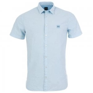 Boss Casual Magneton Short Sleeve Shirt in Light Blue
