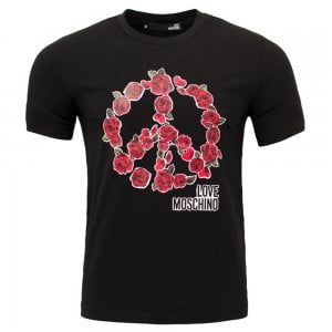 Love Moschino Rose Peace Logo T-Shirt in Black