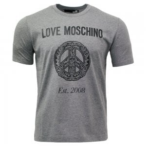 Love Moschino Floral Peace Logo T-Shirt in Grey
