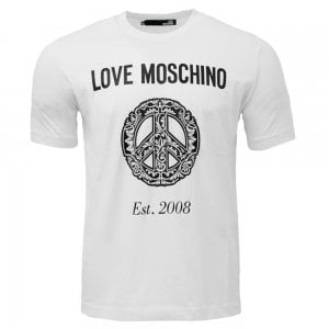 Love Moschino Floral Peace T-Shirt in White