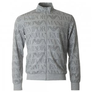 Emporio Armani All Over Logo Zip Loungewear in Grey
