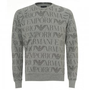 Emporio Armani Loungewear All Over Logo Sweatshirt in Grey