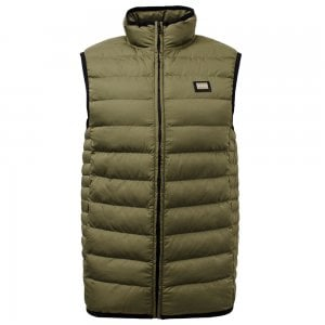 Love Moschino Quilted Vest Jacket in Khaki