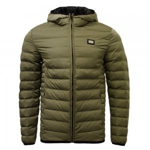 Love Moschino Quilted Hooded Jacket in Khaki