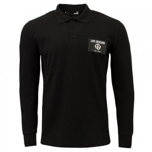 Love Moschino Metal Logo Polo Shirt in Black
