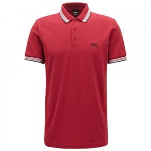 Boss Athleisure Paddy Polo Shirt in Dark Red