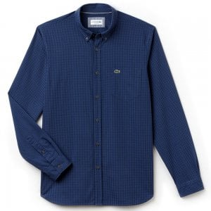 Lacoste Small Check Shirt in Blue