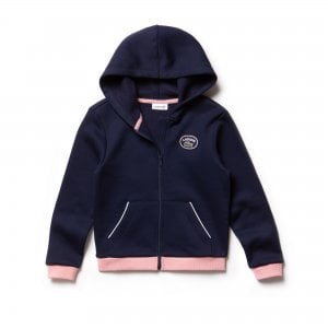 Lacoste Kids 8-12 Years Zippered Sweatshirt in Navy and Pink