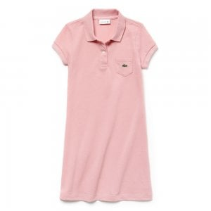 Lacoste Kids 8-12 Years Pocket Polo Dress in Pink