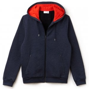 Lacoste Hooded Fleece Zip Sweatshirt in Navy