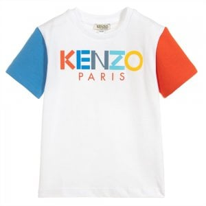 Kenzo Kids Colourblock T-Shirt in White