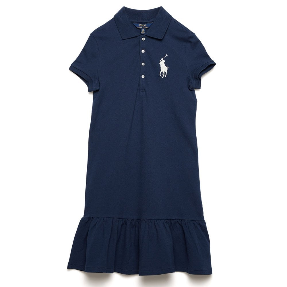 637728ab Ralph Kids Big Pony Logo Dress in Navy