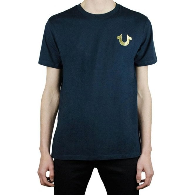 9b147b4557658 True Religion  True Religion Gold Buddha T-Shirt in Navy  Chameleon ...