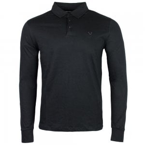 True Religion Long Sleeve Polo Shirt in Black